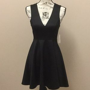 Altar'd State black satin dress with lace back